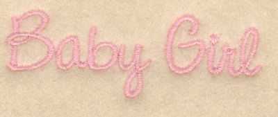 "Embroidery Design: Baby girl script2.95""w x 0.99""h"
