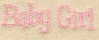 "Embroidery Design: Baby girl text2.89""w X 0.92""h"