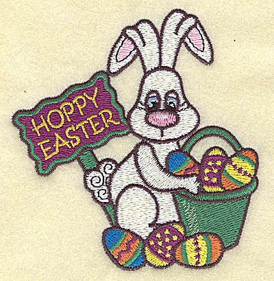 Embroidery Design: Hoppy Easter with bunny small 3.63w X 3.84h