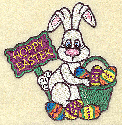 Embroidery Design: Hoppy Easter with bunny large 4.65w X 4.91h