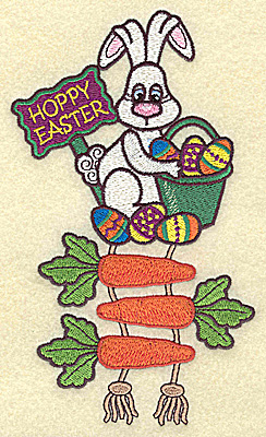Embroidery Design: Hoppy Easter bunny and carrots 4.00w X 6.75h