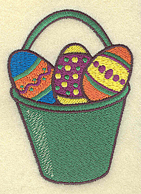 Embroidery Design: Pail of Easter eggs small 2.58w X 3.60h