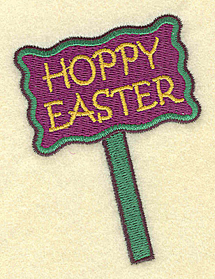Embroidery Design: Hoppy Easter sign small 2.56w X 3.40h
