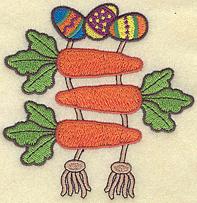 Embroidery Design: Easter eggs and carrots small 3.52w X 3.66