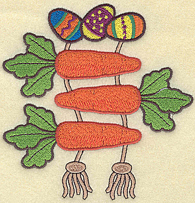 Embroidery Design: Easter eggs and carrots large  4.51w X 4.68h