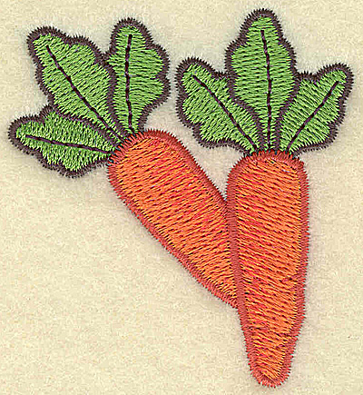 Embroidery Design: Two carrots small 2.37w X 2.56h