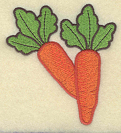 Embroidery Design: Two carrots large 3.08w X 3.35h