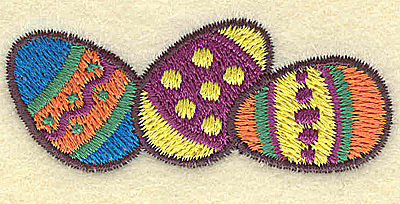 Embroidery Design: Easter egg trio 2.44w X 0.99h