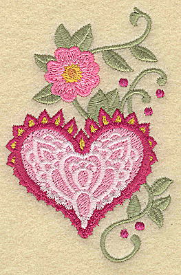 Embroidery Design: Heart and flower A small 2.51w X 3.89h