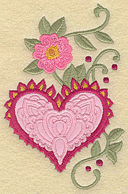 Embroidery Design: Heart applique and flower A large 3.17w X 4.95h