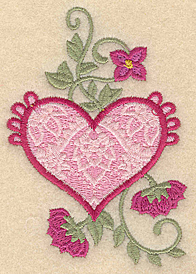 Embroidery Design: Heart and flowers B small 2.69w X 3.85h