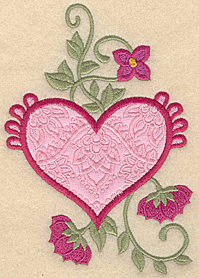 Embroidery Design: Heart applique and flowers B large 6.02w X 4.19h