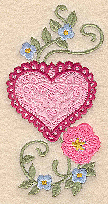 Embroidery Design: Heart and flowers C small 1.97w X 3.88h