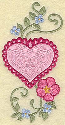 Embroidery Design: Heart applique and flowers C large 5.96w X 3.02h