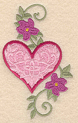 Embroidery Design: Heart and flowers D small 2.39w X 3.88