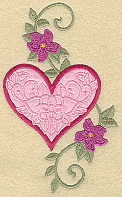 Embroidery Design: Heart applique and flowers D large 5.97w X 3.66h