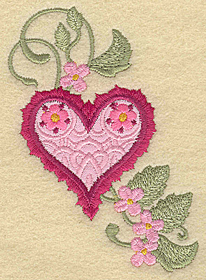 Embroidery Design: Heart applique and flowers E small 2.71w X 3.87h