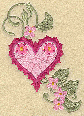 Embroidery Design: Heart applique and flowers E large 3.47w X 4.96h