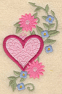 Embroidery Design: Heart applique and flowers F small 2.46w X 3.86h