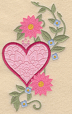 Embroidery Design: Heart applique and flowers F large 5.95w X 3.75h