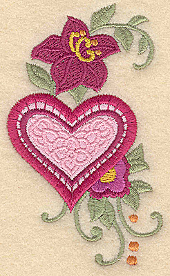 Embroidery Design: Heart applique and flowers G small 2.31w X 3.87h
