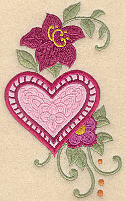 Embroidery Design: Heart applique and flowers G large 5.95w X 3.55h