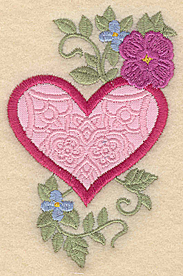 Embroidery Design: Heart applique and flowers H small 2.48w X 3.85h