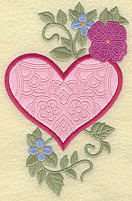 Embroidery Design: Heart applique and flowers H large 6.00w X 3.87h