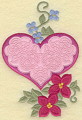 Embroidery Design: Heart applique and flowers I large 5.94w X 4.00h