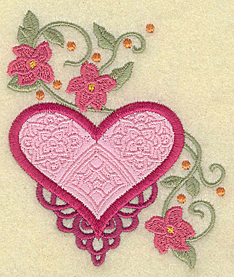 Embroidery Design: Heart applique and flowers J small 3.24w X 3.88h