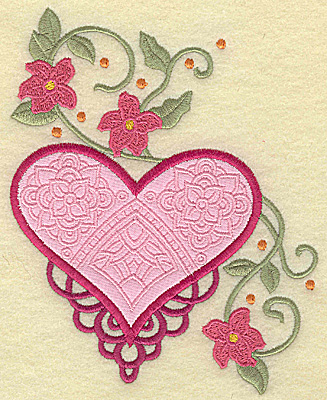 Embroidery Design: Heart applique and flowers J large 5.95w X 4.97h