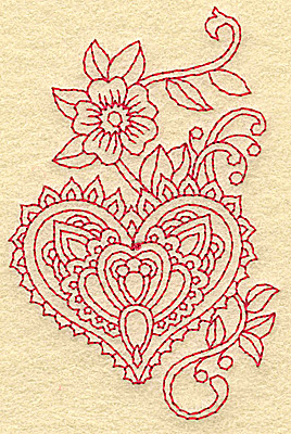 Embroidery Design: Heart and flower redwork A 2.51w X 3.88h