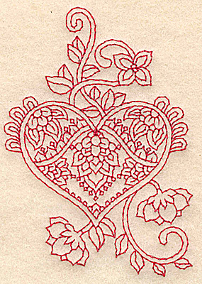 Embroidery Design: Heart and flowers redwork B 2.70w X 3.89h