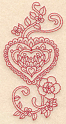 Embroidery Design: Heart and flowers redwork C 1.96w X 3.88h