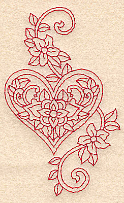 Embroidery Design: Heart and flowers redwork D2.36w X 3.89h