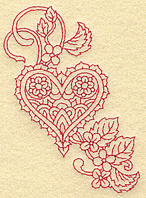 Embroidery Design: Heart and flowers redwork E 2.70w X 3.83h