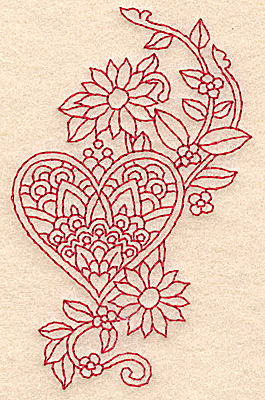 Embroidery Design: Heart and flowers redwork F 2.42w X 3.88h