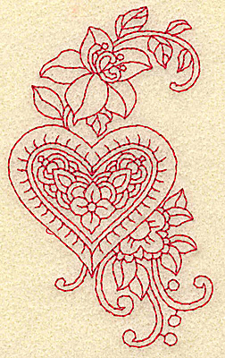 Embroidery Design: Heart and flowers redwork G 2.32w X 3.88h