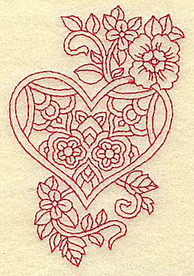 Embroidery Design: Heart and flowers redwork H 2.48w X 3.87h