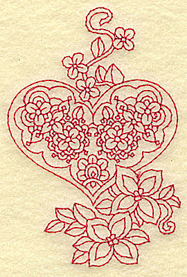 Embroidery Design: Heart and flowers redwork I 2.57w X 3.85h