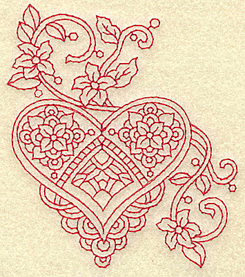 Embroidery Design: Heart and flowers redwork J 3.30w X 3.88h