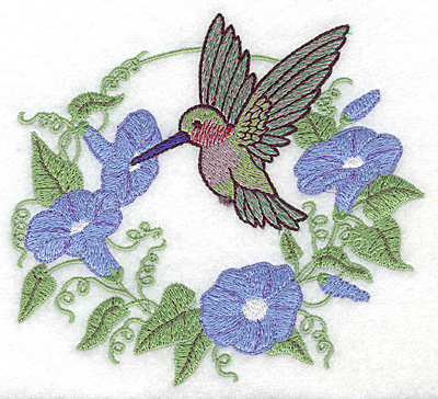 Embroidery Design: Hummingbird at morning glory 5.51w X 4.96h