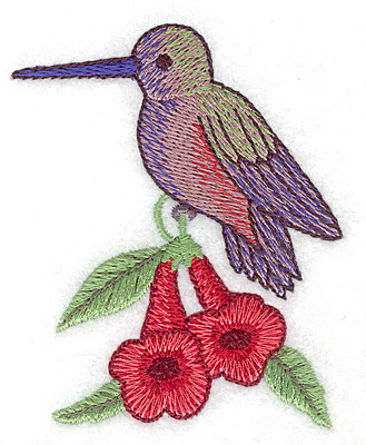 Embroidery Design: Hummingbird on trumpet flower small 2.76w X 3.32h