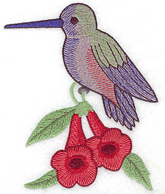 Embroidery Design: Hummingbird on trumpet flower large4.14w X 4.98h