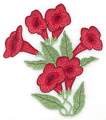 Embroidery Design: Trumpet flower bouqet large 4.41w X 5.00h
