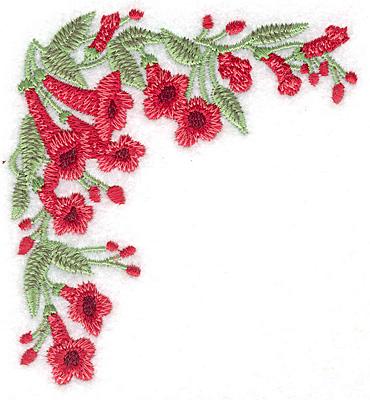 Embroidery Design: Trumpet flower corner small 3.58w X 3.87h