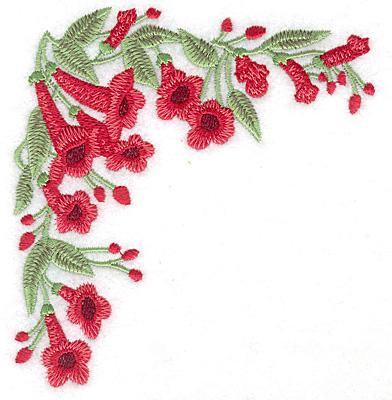 Embroidery Design: Trumpet flower corner large 4.62w X 4.99h