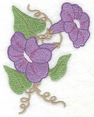 Embroidery Design: Morning Glories mauve large 3.69w X 4.97h