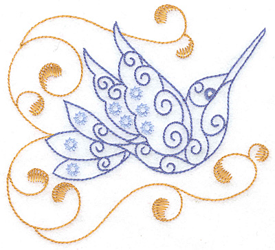 Embroidery Design: Hummingbird swirl A large 4.97w X 4.52h