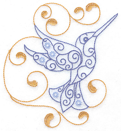 Embroidery Design: Hummingbird swirl B large 4.61w X 4.99h